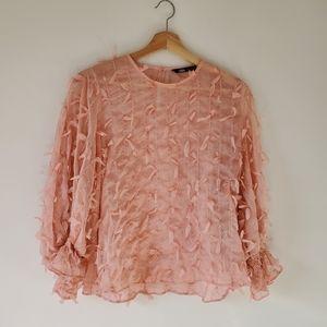 Zara textured weave blouse M